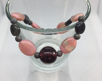 Pink & grey Czech glass beaded stretch bracelet