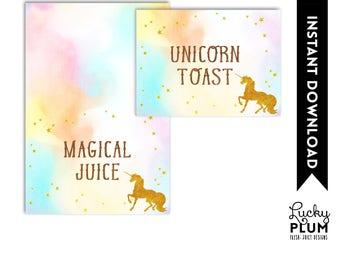 Unicorn Food Tent Card / Rainbow  Food Tent Card / Magical  Food Tent Card / Colorful Food Tent Card / Horse  Food Tent Card / DIY Printable