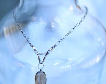 Necklace : Sterling silver, Smokey quartz