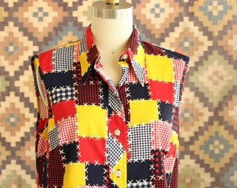 vintage 1970s patchwork look blouse . medium large womens sleeveless shirt by Sears, bold colorblock cotton rayon blend