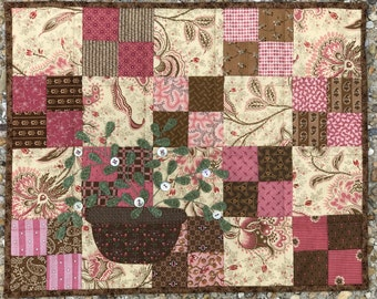 kit; Sweet pink and brown little quilt with lovely basket of flowers