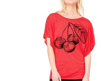 Cherries dolman tee, women's tee, modern floral, black and white, pretty top, casual top, dolman, flowy tee
