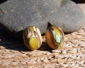 Lampworked Bead Pair - Ivory with Greens and Blues