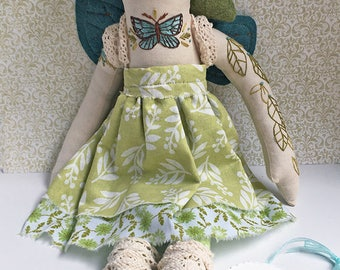 Embroidered green fairy forest girl cloth doll Devon OOAK