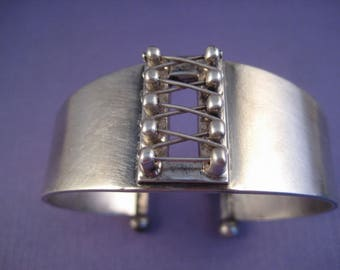 Laced up corset cuff bracelet solid sterling silver