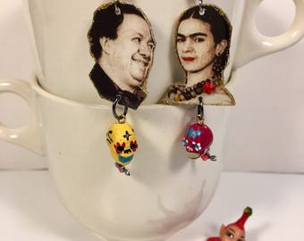 Frida Kahlo and Diego Rivera Earrings  Mexican Painter Modern Art Mexico Surrealism