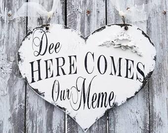 Here Comes the Bride Sign | Wedding Sign | Ring Bearer | Flower Girl Sign | Wedding Heart Sign | Sign for Ring Bearer |Elegant Wedding Decor