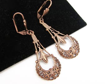Art Deco Earrings, Vintage Style, Art Nouveau, Antiqued Copper, Ornate Dangle Chandelier, Wedding Jewelry, Hawaii Beads