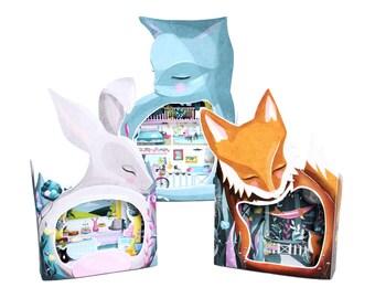 Dream Home Diorama Book - 3 DIY DIORAMA KITS in one book - diy kit papercraft cat cats fox rabbit illustration craft dolls house miniatures