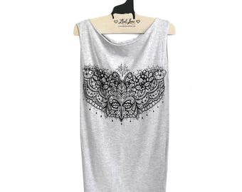 Small Tunic Dress -Heather Gray Dress with Henna Feathers Screenprint SALE