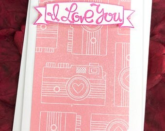 """I Love You Greeting 2, Note Card, Hearts, Cameras, Valentine, Birthday, Anniversary, Thinking of You, Mother's Day, Happy, Cheer-4""""x5.5"""""""