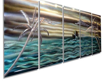 Aqua & Gold Abstract Tropical Metal Painting, Large Modern Metal Wall Art, Indoor Outdoor Beach Wall Art Decor - Castaway Again by Jon Allen
