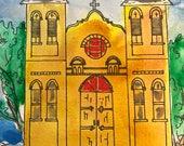 Watercolor painting by artist Sandy Short Basilica San Albino, Mesilla, NM