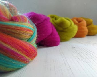 Mixed Merino Wool Roving - Merino Tops - Fibre for Spinning - Felt Making - Mixed Colours - Wool Fibres - Merino 64s - Blended Roving - 100g