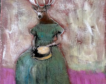Painting deer woman  original  mixed media  on canvas Heather Murray