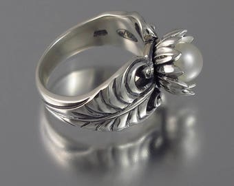 RESERVED for S.  WHITE LOTUS freshwater pearl silver ring