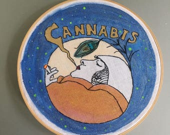 Jazz Cigarettes - hand painted and embroidered art nouveau style marijuana wall hanging / hoop art