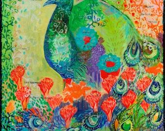 Garden Peacock - ORIGINAL Bird Painting Poem, 20x26 by JENLO