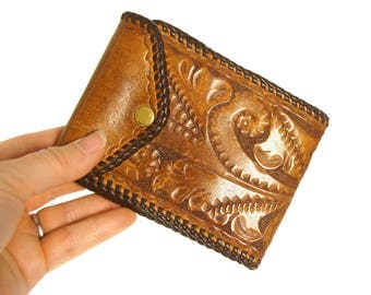 60s Tooled Leather Wallet / Vintage 1960s Tooled Leather Bi-fold Wallet / Hippie Boho Southwest Western Small Clutch