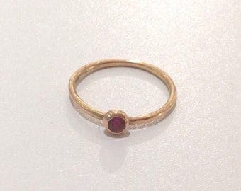 Ruby solitaire minimalist ring in 18k 18ct rose gold, alternative engagement ring, ruby stacking ring
