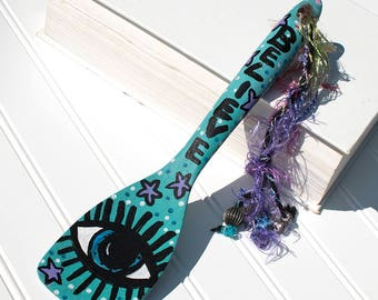 Whimsical Kitchen Magic Wand - Evil Eye Decorative Wooden Spatula - Painted Home Decor - Kitchen Wall Decor Art - Gift for Cook, Chef