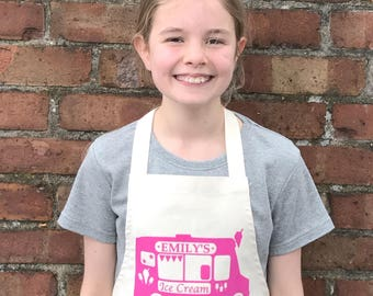 Personalised Name Kids Apron, Ice Cream Truck, Cooking Gift, Chef Apron, Birthday Gift, Girls Apron, Boys Apron