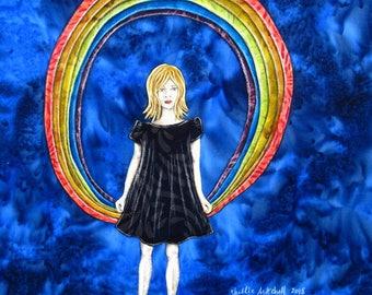 Rainbow art, baby shower gift, nursery decor, spectrum, refractions of light, pretty girl, original artwork, shellieartist, mixed medium art