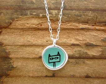 Reversible Cat Necklace - Shifty Cat and Love Cat - Sterling Silver and Vitreous Enamel Necklace with Cat Drawings