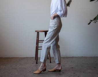 beige high waist jeans / baggy tapered / vtg 80s mom jeans / 27 W / 3264t / B9
