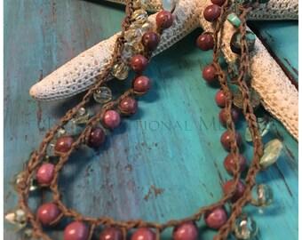 Crochet Necklace, Wrap Bracelet, Crochet Bracelet, Rhodonite, Vintage Glass Beads, Turquoise, Natural Gemstones