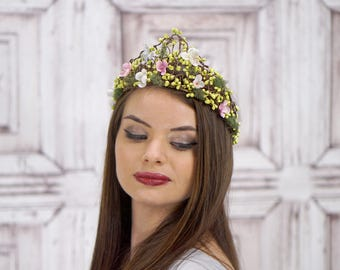 Woven Bridal Crown, Vintage Style Bridal Headpiece, Spring Green and Pink Floral Crown, Elven Headdress, Circlet, Fairy, Woodland, Moss