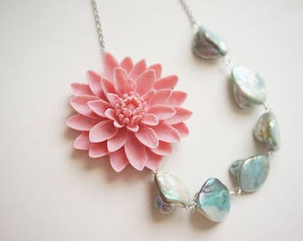 Statement Necklace Pink Necklace Aqua Necklace Pink Jewelry Pearl Jewelry Pearl Necklace Bridesmaid Jewelry Bridesmaid Gift Wedding Gift