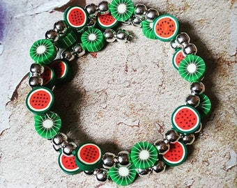 Watermelon & Kiwi Wrap Bracelet