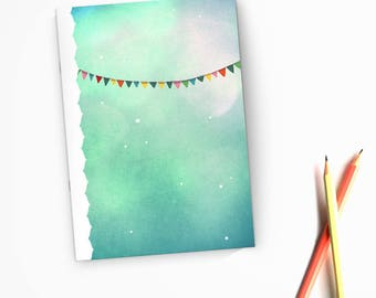 Colorful party garland - handmade illustrated notebook
