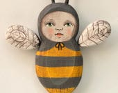 Folk Art Bee Anthropomorphic Folk Hand-Painted Wooden Sculpture Doll Original Contemporary OOAK