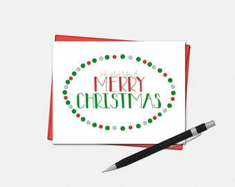 We Wish You A Merry Christmas Cards - Christmas Card - Set of 10 - Xmas Cards - Christmas Cards