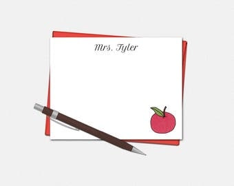 Teacher Note Cards - Set of 10 - Flat Note Cards - Teacher Gifts - Teacher Stationery - Apple Stationery - Personalized Apple Note Cards