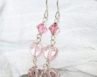 Rose pink hearts and Swarovski Crystal Earrings