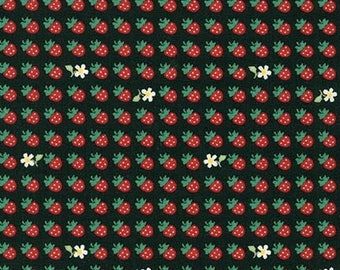 HALF YARD Sevenberry - Mini Strawberries and Daisies on BLACK 6114D3-10 - Classic Petites Collection - Japanese Import