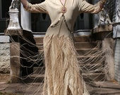1930's 1940's Fringe Hostes dress Beige Crepe Boxed since the 40s