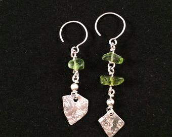 Periodot and Sterling Dangle Earrings