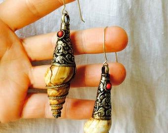 Vintage Tibetan Shell Tribal Earrings. Sterling Silver Earwires.