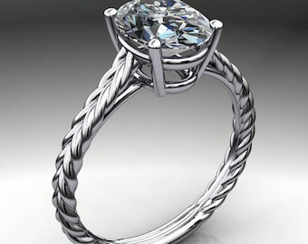 ivy ring – 2 carat oval NEO moissanite engagement ring, braided engagement ring