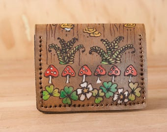 Leather Card Holder - Womens or Mens Front Pocket Credit Card Wallet in the Ronja Pattern with shamrocks, toadstools, and ferns - Brown