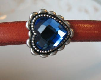 blue heart  Rhinestone licorice leather slider-silver plated 10x6 leather finding-crystal finding--heart slider-ONE PIECE