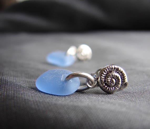 Little Nautilus sea glass earrings in cornflower blue