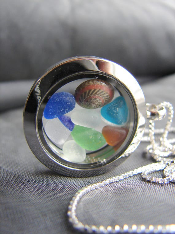 Porthole sea glass locket in blue, green, aqua and amber
