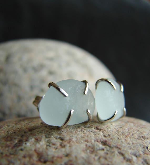 Tiny Ocean sea glass stud earrings in moonstone