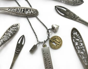 Cleveland Vintage Rapid Transit Token Coin CLE 216 Puffy Heart Charm Sterling Silver Necklace Public Square