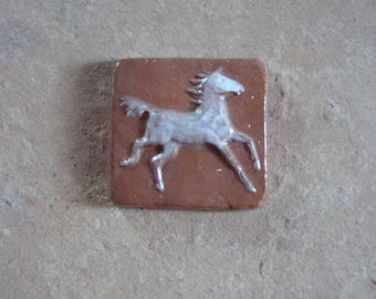 Running White Horse Earthenware Ceramic Clay Relief Art Tile Handmade Mosaic 3 x 3